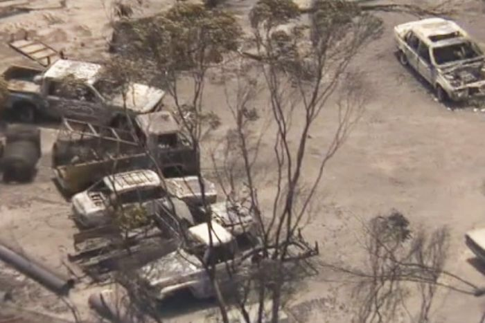 PHOTO: Farming properties were damaged in the blaze. (ABC News)