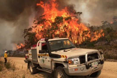 Tasmania Parks and Wildlife Service fighting a bushfire at Miena in January. CREDIT:ALEX ELDRIDGE